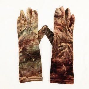 Vintage • Crushed Velvet Tie Dye Boho Long Gloves